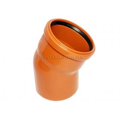 Колено канализационное ПВХ под 15°